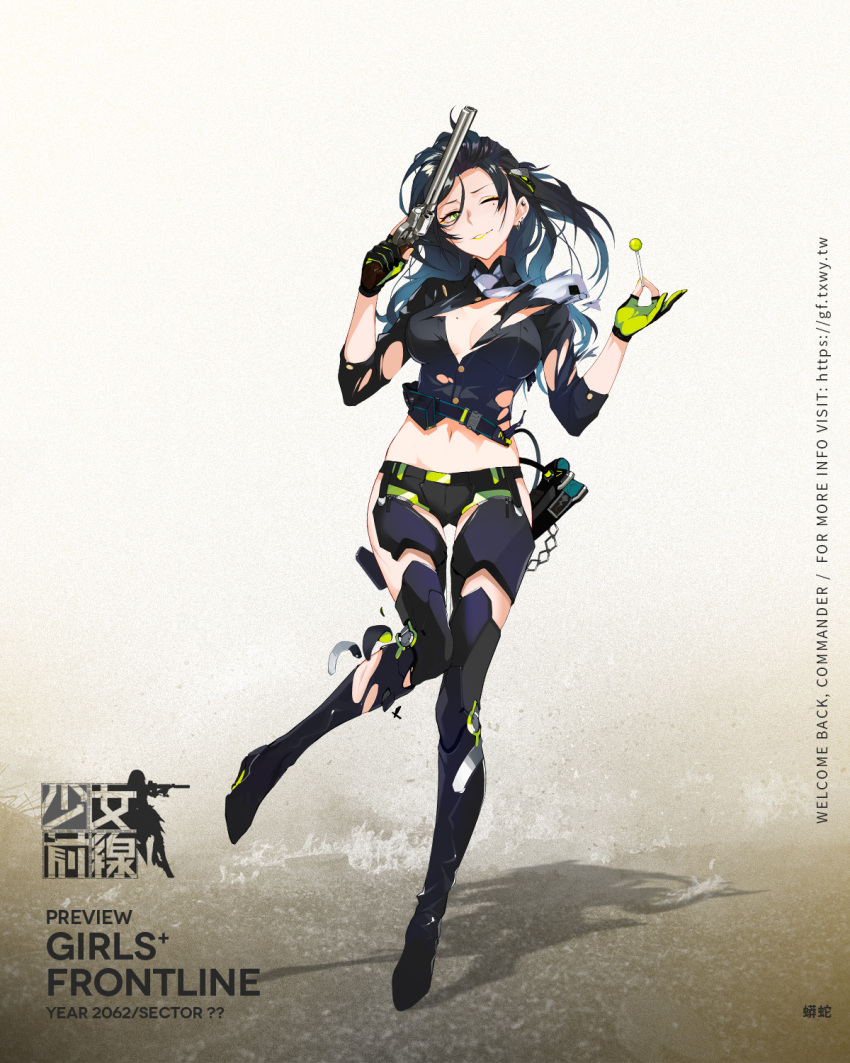 1girl arm_strap badge bangs black_hair black_shirt black_shorts blue_hair boots breasts buttons candy chains character_name closed_mouth clothes_writing collared_shirt colt_python copyright_name earrings eyeshadow food full_body girls_frontline gloves gradient_hair green_eyes green_lips green_nails gun hair_between_eyes hair_ornament handgun high_heel_boots high_heels highres holding holding_food holding_gun holding_lollipop holding_weapon holster hoop_earrings injury jewelry large_breasts leg_armor logo lollipop long_hair looking_at_viewer makeup midriff mole mole_on_breast mole_under_eye multicolored multicolored_clothes multicolored_gloves multicolored_hair multiple_earrings nail_polish navel necktie no_bra official_art one_eye_closed partly_fingerless_gloves python_(girls_frontline) realmbw revolver shirt short_shorts shorts shoulder_pads side_slit side_slit_shorts sidelocks sleeves_folded_up smile solo stomach strap stud_earrings thigh-highs thigh_boots torn_clothes trigger_discipline wavy_hair weapon white_neckwear