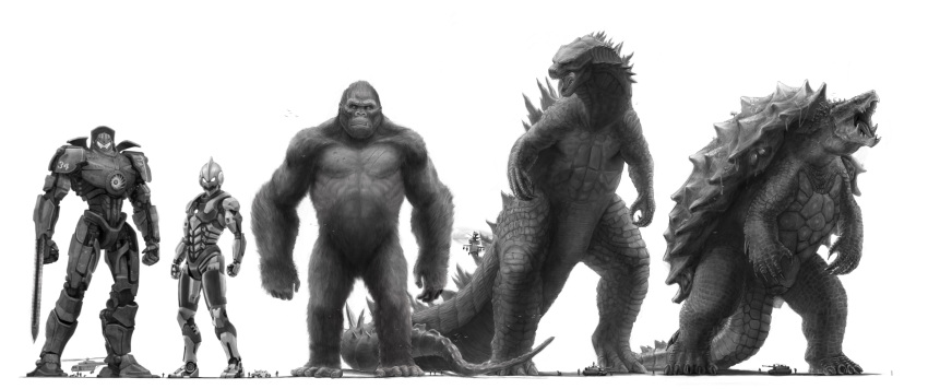 absurdres animal ape arm_blade arm_guards armor armored_boots boots chart claws commentary crossover dinosaur eatalllot english_commentary fang fangs full_body gamera gamera_(series) giant gipsy_danger glowing godzilla godzilla_(2014) godzilla_(series) gorilla greyscale highres kaijuu king_kong king_kong_(character) kong:_skull_island looking_at_viewer male_focus mecha mechanical_arms monochrome monster monsterverse muscle open_mouth oversized_animal pacific_rim robot science_fiction sharp_teeth size_comparison size_difference super_robot sword tagme tail teeth tokusatsu turtle tusks ultra_series ultraman ultraman_(1st_series) visor weapon