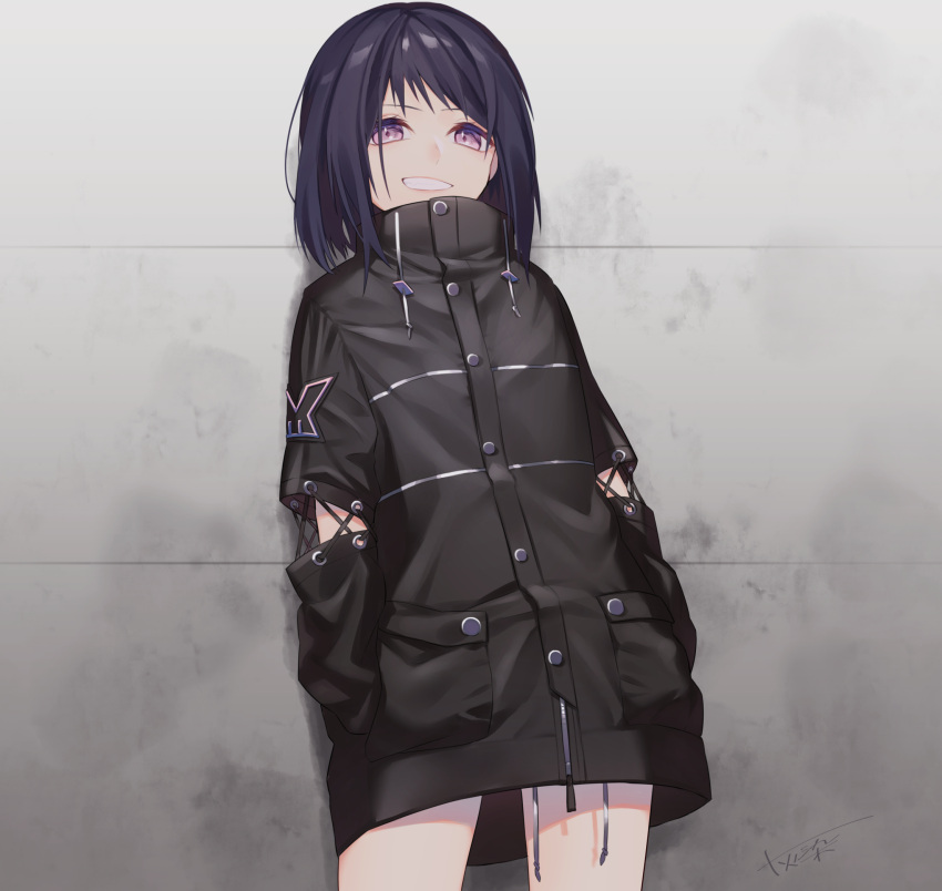 1girl bangs black_coat black_hair buttons coat commentary_request contrapposto cowboy_shot cross-laced_clothes drawstring fang grin haizome_senri hands_in_pockets high_collar highres long_sleeves looking_at_viewer medium_hair no_pants original pink_eyes pocket sidelocks signature sleeves_past_wrists smile smirk solo standing swept_bangs symbol-shaped_pupils wall zipper zipper_pull_tab