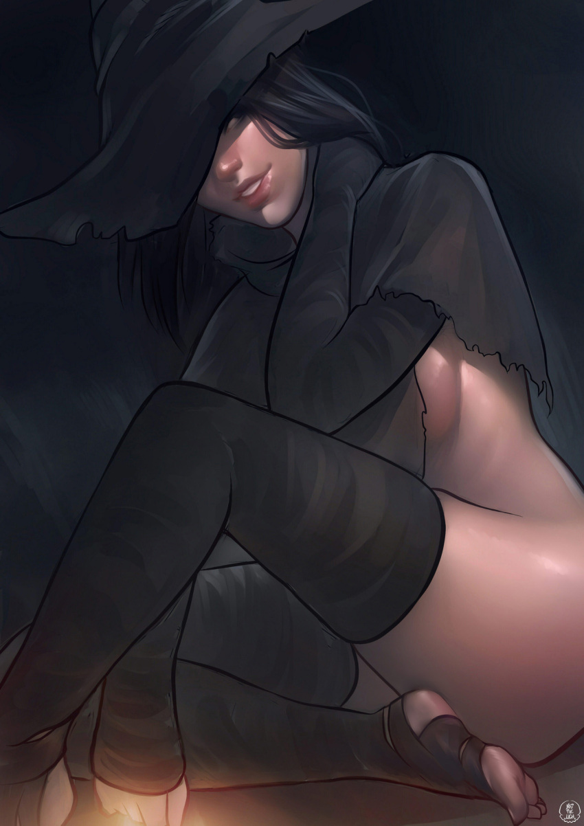 1girl black black_hair black_legwear breasts capelet commentary dark_souls_iii detached_sleeves english_commentary hat hat_over_one_eye highres karla_(dark_souls_3) light_smile lips long_hair nat_the_lich no_panties nose sideboob sitting solo souls_(from_software) toeless_legwear witch_hat