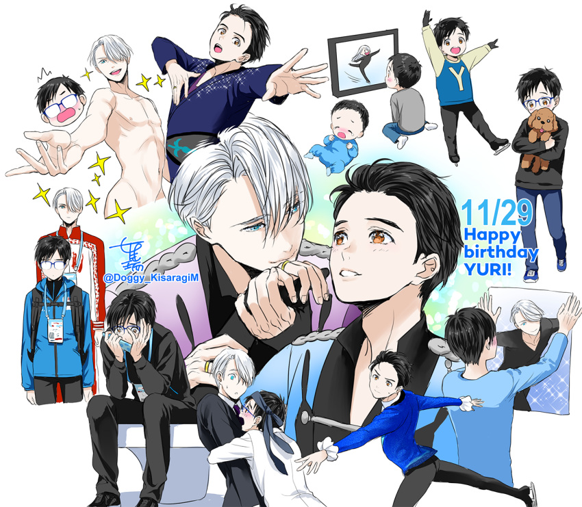 2boys :d age_progression baby black_gloves black_hair blue-framed_eyewear blue_eyes brown_eyes child dog formal glasses gloves happy_birthday highres ice_skates jacket jewelry katsuki_yuuri kisaragi_mizu lanyard male_focus multiple_boys necktie necktie_on_head nude open_mouth outstretched_hand poster_(object) ring silver_hair sitting skates smile sparkle suit tears track_jacket vicchan viktor_nikiforov younger yuri!!!_on_ice