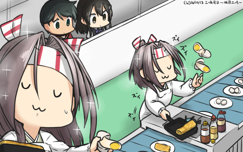 3girls :3 closed_eyes commentary_request conveyor_belt dated egg empty_eyes frying_pan hachimaki hamu_koutarou headband highres kantai_collection kappougi long_hair mogami_(kantai_collection) multiple_girls omelet oyashio_(kantai_collection) rectangular_frying_pan ribbon school_uniform serafuku short_hair sparkle sweat tamagoyaki v_v vest zui_zui_dance zuihou_(kantai_collection)