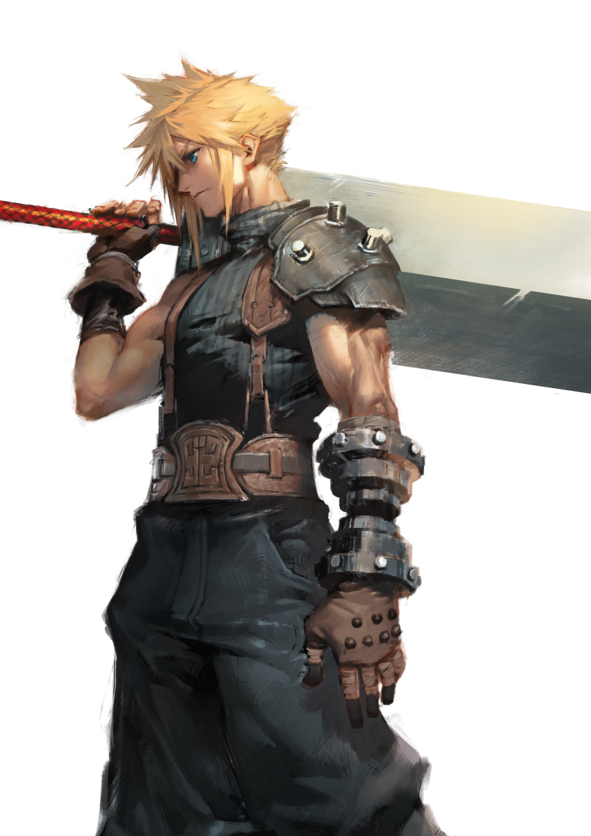 1boy absurdres baggy_pants belt blonde_hair blue_eyes blue_pants blue_shirt bracer buster_sword closed_mouth cloud_strife commentary_request cowboy_shot final_fantasy final_fantasy_vii fingerless_gloves from_side gloves highres holding holding_sword holding_weapon male_focus over_shoulder pants ribbed_shirt shirt shoulder_armor sleeveless sleeveless_shirt spaulders spiky_hair standing suspenders sword sword_over_shoulder weapon weapon_over_shoulder yayoi_fmfm