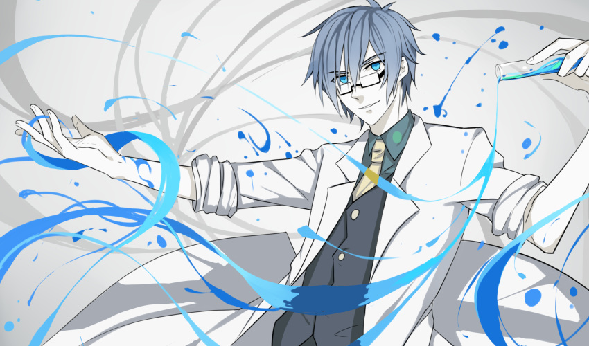 1boy aqua_eyes blue_hair glasses highres kaito labcoat looking_at_viewer male_focus necktie science smile test_tube vocaloid waistcoat