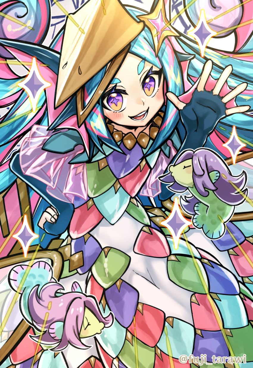 +_+ 1girl :d amabie_(yu-gi-oh!) aqua_hair aqua_nails armor bangs black_gloves blush bodysuit cowboy_shot creature curly_hair duel_monster elbow_gloves emphasis_lines fingernails flat_chest fuji_tarawi gloves hand_up head_fins headgear highres long_fingernails long_hair looking_at_viewer mermaid monster_girl multicolored multicolored_eyes multicolored_hair multiple_tails nail_polish open_hand open_mouth parted_bangs purple_hair scale_armor scales sidelocks smile solo_focus sparkle streaked_hair tail teeth thick_eyebrows twitter_username two-tone_hair very_long_hair violet_eyes webbed_hands yellow_eyes younger yu-gi-oh!