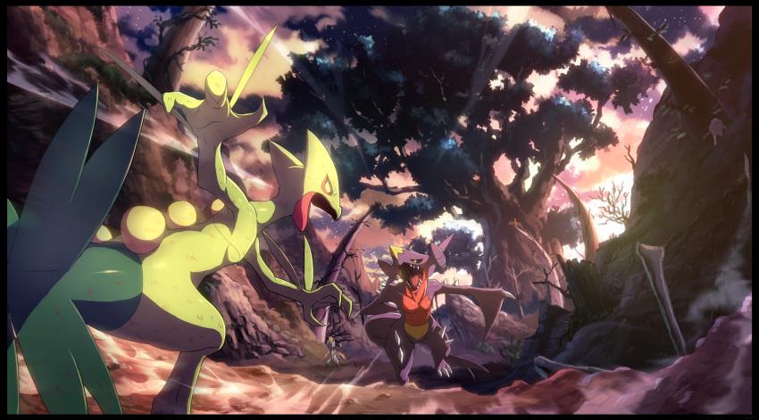 creatures_(company) dragon game_freak garchomp gen_3_pokemon gen_4_pokemon gen_7_pokemon graphite_(medium) hakamo-o highres mechanical_pencil nintendo no_humans pencil pokemon pokemon_(creature) pokemon_(game) pokemon_sm sceptile traditional_media tree