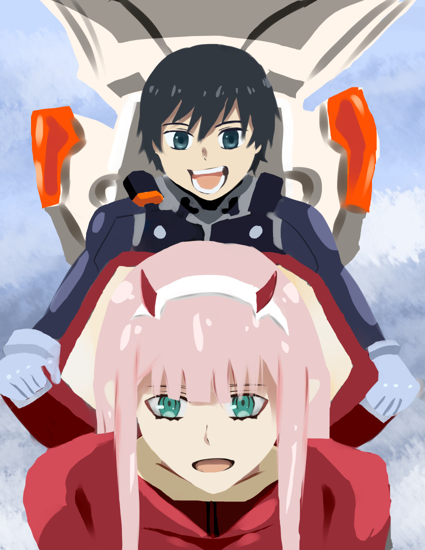 1boy 1girl absurdres bangs black_bodysuit black_hair blue_eyes bodysuit commentary couple darling_in_the_franxx english_commentary gloves green_eyes hair_ornament hairband hetero highres hiro_(darling_in_the_franxx) holding horns long_hair looking_at_viewer no_lineart oni_horns pilot_suit pink_hair red_bodysuit red_horns short_hair white_gloves white_hairband winson zero_two_(darling_in_the_franxx)