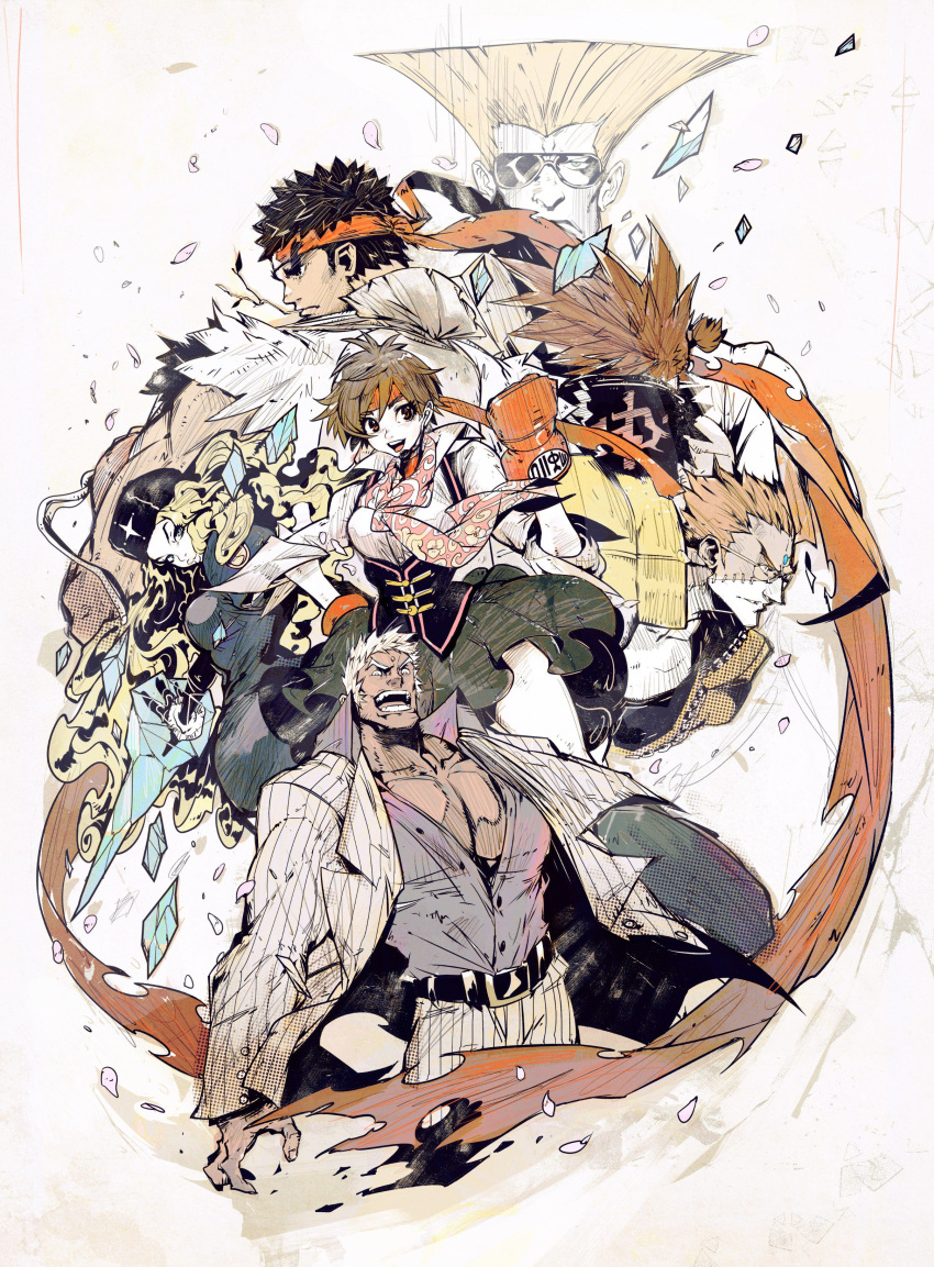 2girls 4boys absurdres andres_blanco back belt blonde_hair brown_hair charlie_nash dark_skin dougi evil_smile flattop forehead_jewel formal from_behind fur_hat fur_trim gouki guile hat headband highres ice icicle kasugano_sakura long_hair looking_at_viewer looking_back multiple_boys multiple_girls open_clothes open_mouth open_shirt redhead ryuu_(street_fighter) scarf serious simple_background smile street_fighter street_fighter_v suit sunglasses topknot urien ushanka very_long_hair wavy_hair white_background white_hair