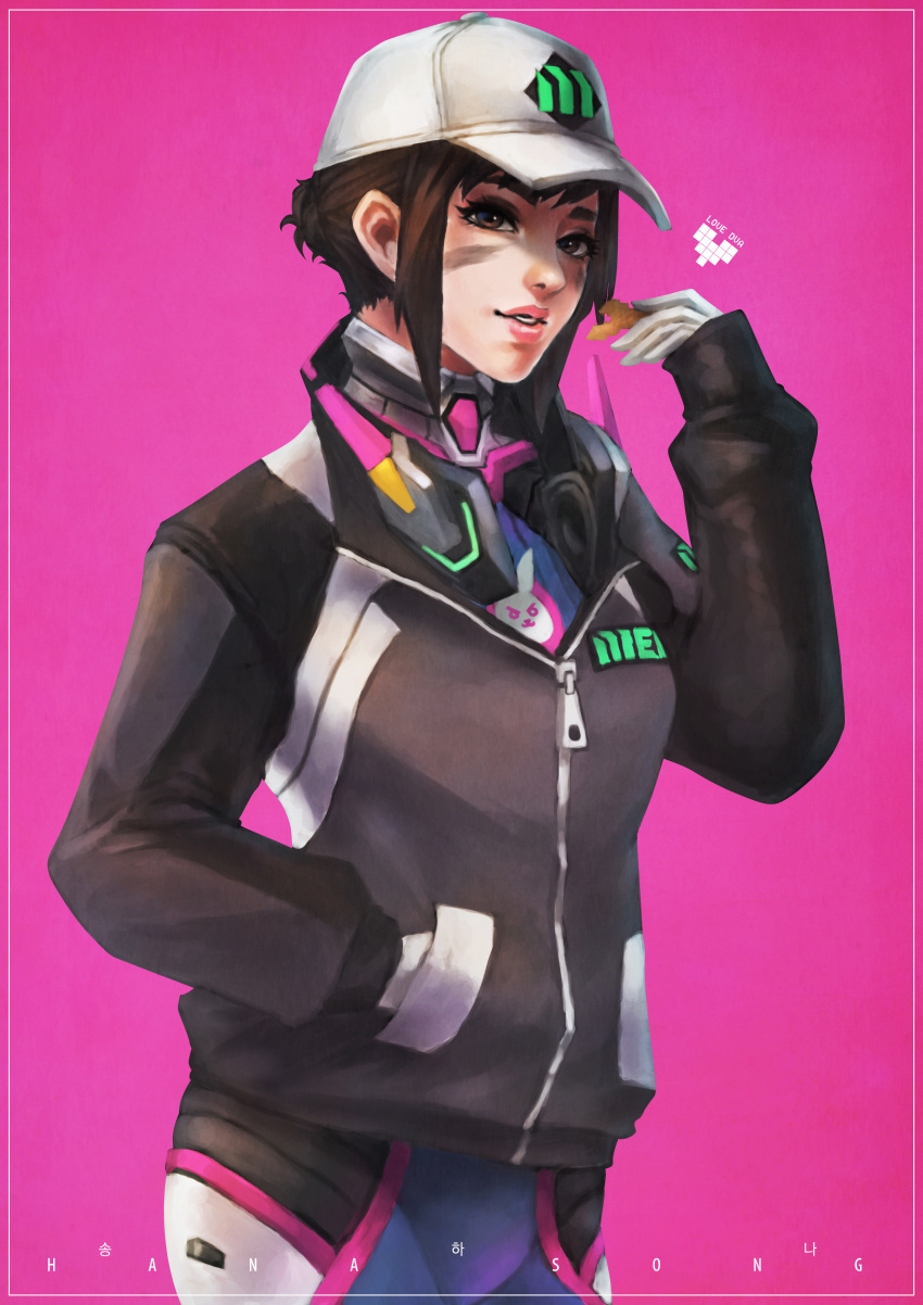 1girl absurdres alternate_hair_length alternate_hairstyle animal_print baseball_cap blue_bodysuit bodysuit brown_hair bunny_print chips commentary d.va_(overwatch) dirty_face english_commentary food hair_bun hand_in_pocket hat headphones headphones_around_neck highres jacket lips looking_at_viewer monori_rogue overwatch pilot_suit pink_background potato_chips short_hair sidelocks solo updo zipper