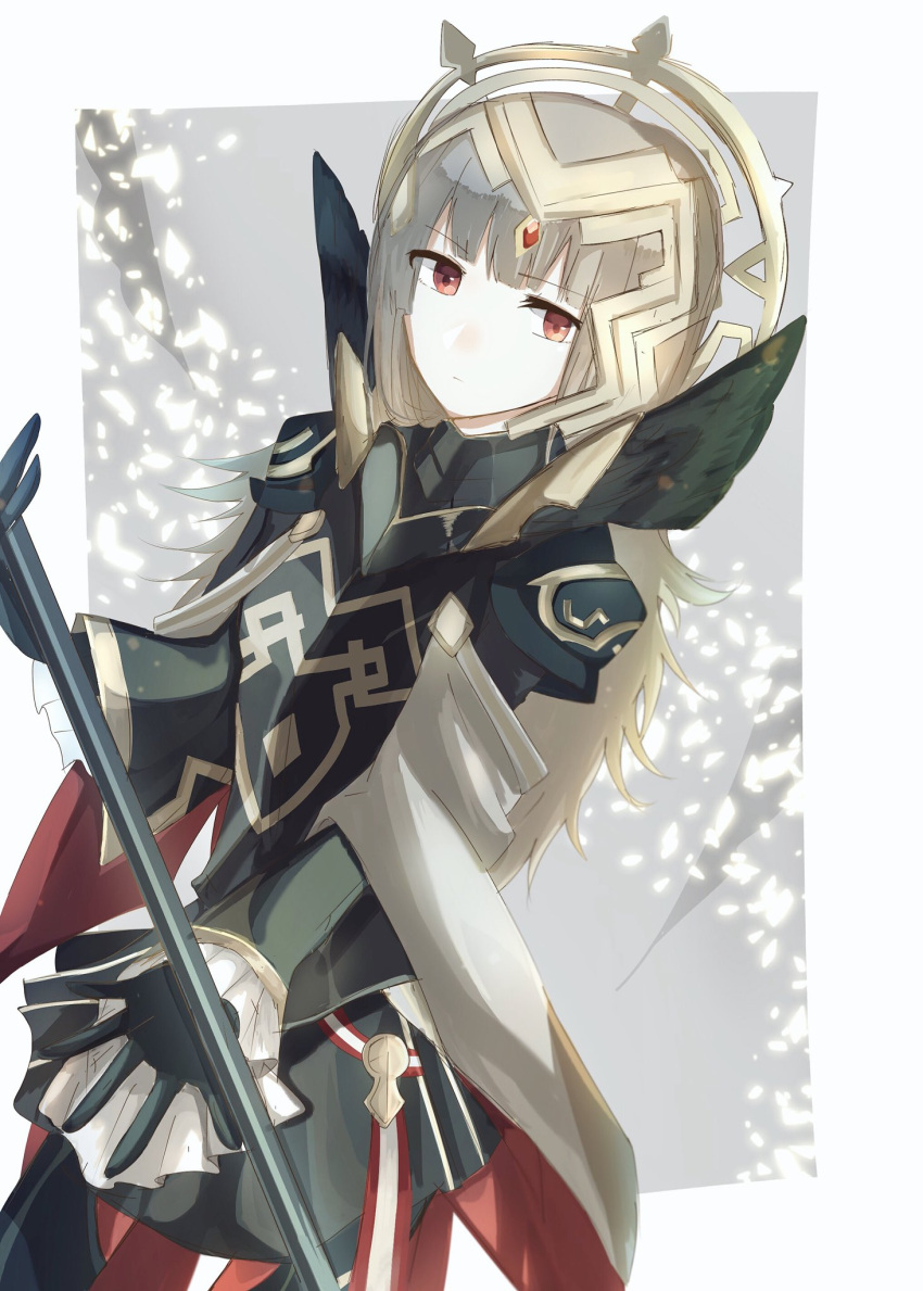 1girl armor black_armor black_gloves cape closed_mouth crown fire_emblem fire_emblem_heroes gloves grey_hair hair_ornament highres long_hair long_sleeves miroia red_eyes shoulder_armor solo veronica_(fire_emblem)