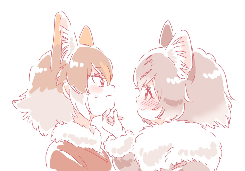 2girls animal_ears blush borrowed_character cat_ears commentary czechoslovakian_wolfdog_(kemono_friends)_(kitsunetsuki_itsuki) dog_ears eyebrows_visible_through_hair fur_collar fur_trim grey_hair hand_on_another's_chin headshot highres kemono_friends light_brown_hair long_sleeves mitsumoto_jouji multicolored_hair multiple_girls norwegian_forest_cat_(kemono_friends)_(mitsumoto_jouji) original short_hair sweatdrop white_hair