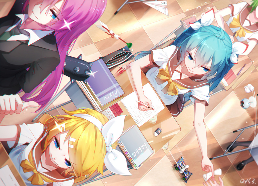 +_+ 5girls ahoge arm_up arms_behind_back bai_yemeng bangs black_footwear black_jacket black_legwear blonde_hair blue_eyes blue_hair blush book bow bowtie brown_sailor_collar brown_skirt chair checkered checkered_floor classroom closed_mouth club dart desk dutch_angle eraser eyebrows_visible_through_hair flying_sweatdrops from_above glint green_hair green_neckwear gumi hair_between_eyes hair_bow hair_ornament hair_ribbon hairband hairclip hatsune_miku highres holding indoors jacket kagamine_rin long_hair looking_at_viewer looking_away looking_to_the_side megurine_luka motion_lines multiple_girls neckerchief necktie outstretched_arm pantyhose paper paper_airplane pen pencil_case pencil_sharpener pink_hair pleated_skirt propeller revision ribbon rubik's_cube ruler sailor_collar school_chair school_desk school_uniform serafuku shaded_face shirt shoes short_hair short_sleeves signature skirt smile smug spiked_club star straight_hair suction-cup_dart swept_bangs teacher thumbs_up toy_car v-shaped_eyebrows very_long_hair vocaloid weapon white_hairband white_ribbon white_shirt x_hair_ornament yellow_bow