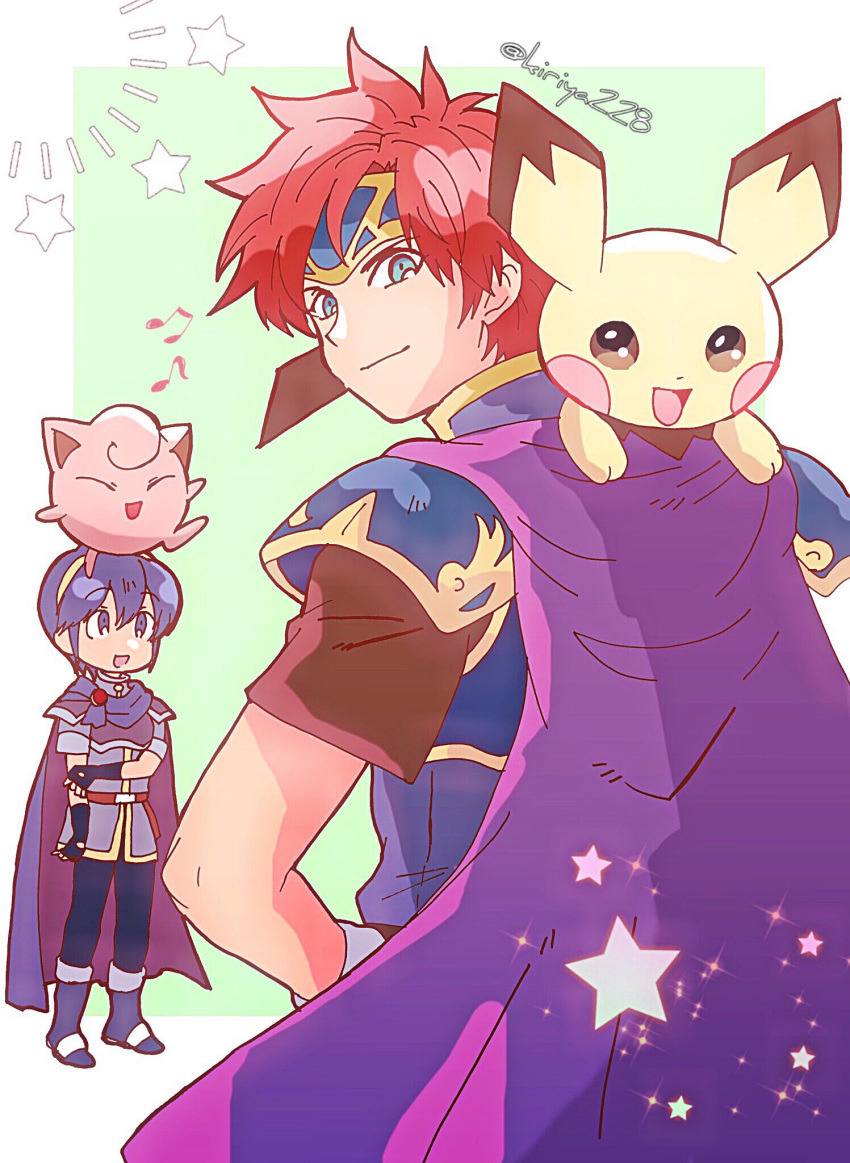 2boys armor blue_eyes blue_hair cape creatures_(company) falchion_(fire_emblem) fire_emblem fire_emblem:_fuuin_no_tsurugi fire_emblem:_monshou_no_nazo game_freak gen_1_pokemon gen_2_pokemon gloves headband highres jigglypuff kiriya_(552260) looking_at_viewer male_focus marth multiple_boys nintendo open_mouth pichu pokemon pokemon_(creature) redhead roy_(fire_emblem) short_hair simple_background smile super_smash_bros. sword weapon