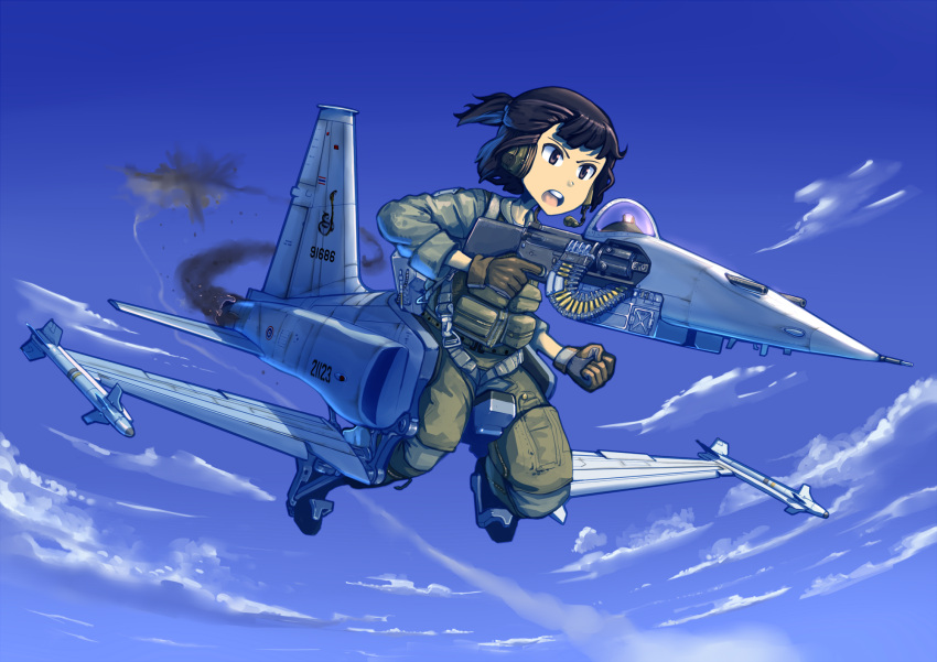 1girl aircraft airplane blue_sky boots brown_eyes brown_gloves brown_hair clouds commentary english_commentary erica_(naze1940) fighter_jet finger_on_trigger flying gloves green_pants green_vest gun headphones headset highres holding holding_gun holding_weapon jet long_sleeves mecha_musume microphone military military_uniform military_vehicle open_mouth original outdoors pants round_teeth sky solo teeth uniform vest weapon