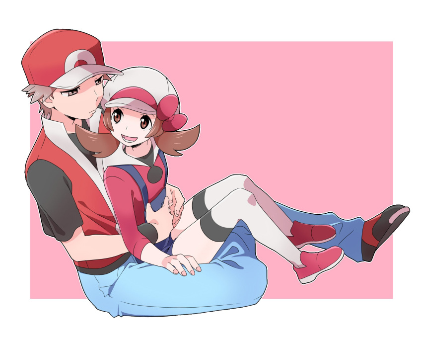 1boy 1girl bangs baseball_cap brown_eyes brown_hair creatures_(company) denim game_freak hand_on_hip hat hat_ribbon highres jeans knees kotone_(pokemon) nintendo overalls pants pokemon pokemon_(game) pokemon_frlg pokemon_hgss pumpkinpan red_(pokemon) ribbon shirt shoes simple_background sitting sitting_on_lap sitting_on_person sneakers thigh-highs torso_grab