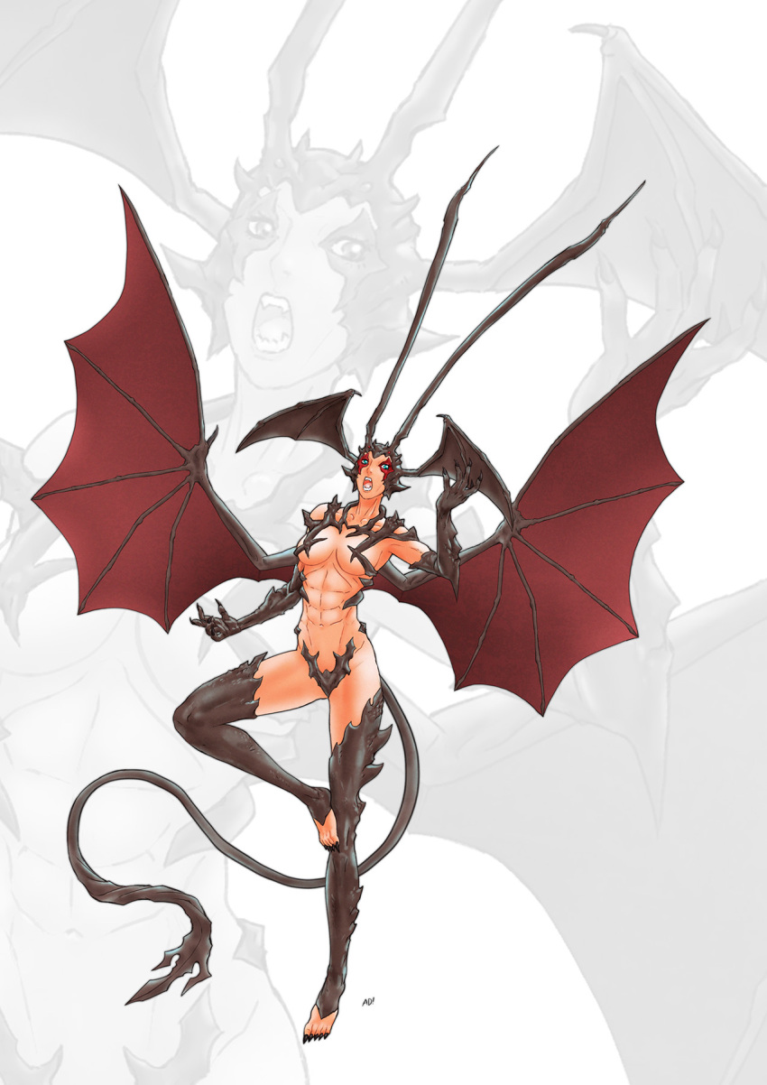 1girl adi_(adivider) bat_wings blue_eyes breasts claws demon demon_girl demon_horns demon_tail demon_wings devilman devilman_lady fingernails fudou_jun head_wings highres horns large_wings long_fingernails long_horns solo tail wings zoom_layer
