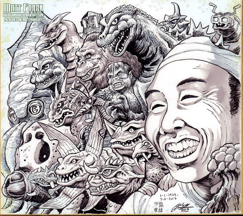 1boy baragon_(godzilla) claws clenched_teeth commentary english_commentary gabora gaira gezora gezora_ganime_kameba_kessen!_nankai_no_dai-kaijuu godzilla godzilla_(series) gomess greyscale grin jirass kaiju_samurai kaijuu king_kong king_kong_(character) kiyla maguma male_focus matango moguera monochrome monster mothra mushroom nakajima_haruo neronga open_mouth pagos rodan round_teeth scales sharp_teeth smile tagme tail teeth u-tom ultra_q ultra_series ultra_seven_(series) ultraman_(1st_series) varan