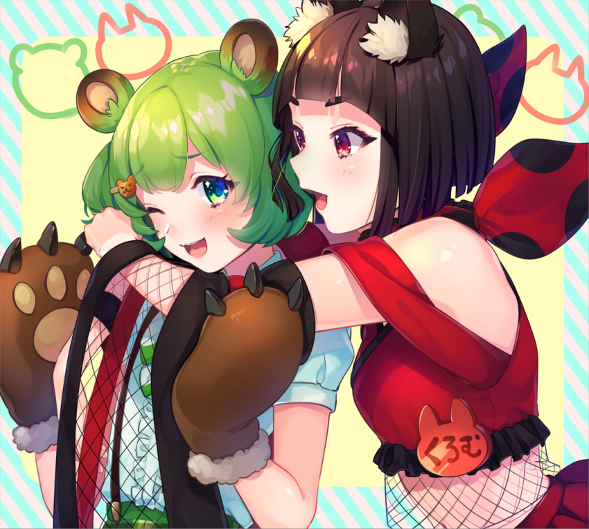 2girls animal_ears bbbannooo bear_ears bear_paws black_hair blush breasts character_request copyright_request eyebrows_visible_through_hair fox_ears green_eyes green_hair hair_ornament hairclip looking_at_another medium_breasts multiple_girls one_eye_closed open_mouth red_eyes short_hair short_sleeves smile