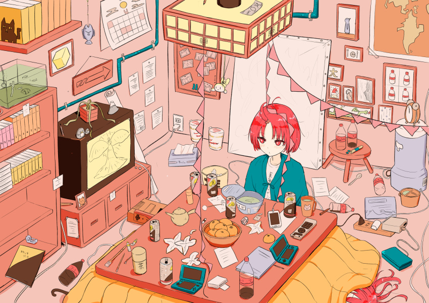 2girls ahoge alarm_clock animal bangs blue_jacket blush book bookshelf bottle bowl bulletin_board calendar_(object) can ceiling_light cellphone clock closed_mouth clothes_writing commentary_request controller coraman cup directional_arrow drink electric_socket eyebrows_visible_through_hair fish fish_tank food fruit game_console handheld_game_console highres indoors jacket kotatsu looking_away looking_to_the_side lying mandarin_orange map mimikaki money mug multiple_girls on_back original paint_tube paintbrush paper parted_bangs pencil pennant phone picture_frame plant potted_plant ramen red_eyes redhead remote_control shelf shirt short_hair sitting solo_focus string_of_flags table tape television tissue_box translated trash_can under_kotatsu under_table watching_television white_shirt