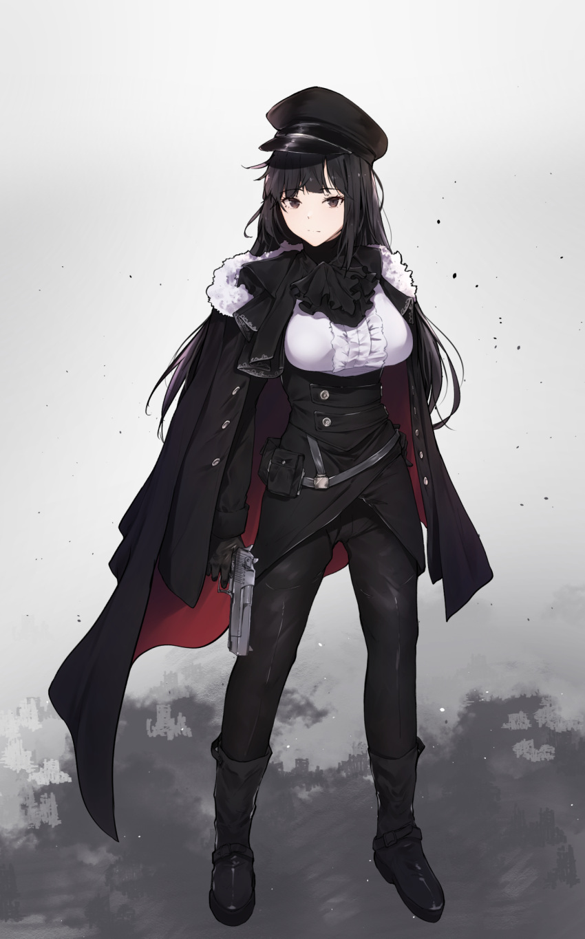 1girl ammunition_pouch ascot bangs black_ascot black_cape black_footwear black_gloves black_hair black_hat black_jacket black_pants blouse boots breasts brown_eyes cape center_frills closed_mouth commentary desert_eagle english_commentary expressionless eyebrows_visible_through_hair frills full_body fur-trimmed_cape fur_trim gloves gun handgun hat highres holding holding_gun holding_weapon hplay jacket jacket_on_shoulders large_breasts long_hair long_sleeves looking_at_viewer military military_hat military_uniform multicolored multicolored_cape multicolored_clothes open_clothes open_jacket original pants peaked_cap pistol pouch red_cape sidelocks solo standing trigger_discipline uniform very_long_hair weapon white_blouse