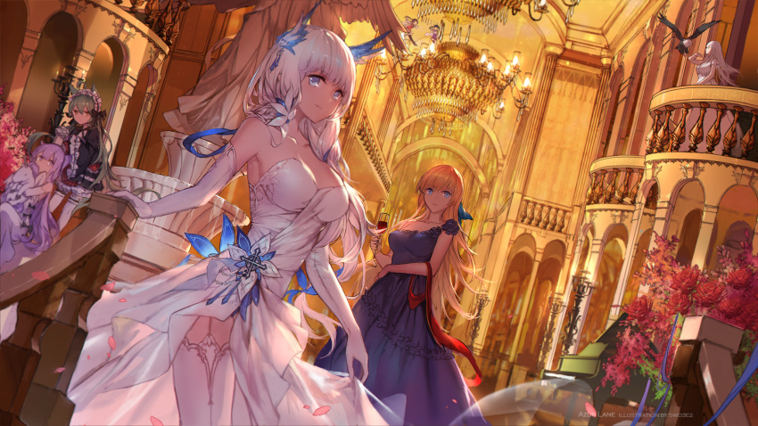 6+girls ahoge akashi_(azur_lane) alternate_costume alternate_hairstyle animal_ears arm_ribbon armpits azur_lane bangs bare_shoulders bell bird black_ribbon blonde_hair blue_dress blue_eyes blue_ribbon blush bow breasts cat_ears chandelier cleavage dress eagle elbow_gloves enterprise_(azur_lane) eyebrows_visible_through_hair frills gloves gothic_lolita green_hair hair_between_eyes hair_bow hair_bun hair_ornament hair_ribbon headdress highres illustrious_(azur_lane) indoors instrument large_breasts lolita_fashion long_hair long_sleeves looking_at_viewer low_twintails mole mole_under_eye multiple_girls ning_hai_(azur_lane) official_art piano ping_hai_(azur_lane) purple_hair ribbon side_bun silver_hair single_strap sleeveless sleeves_past_wrists smile strapless strapless_dress stuffed_animal stuffed_toy stuffed_unicorn swd3e2 thigh-highs twintails unicorn_(azur_lane) very_long_hair violet_eyes white_dress white_gloves white_hair white_legwear yellow_eyes