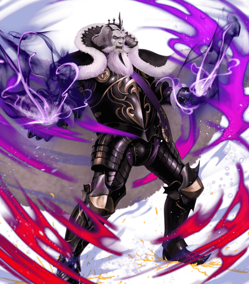 1boy armor armored_boots aura beard black_armor black_footwear boots cape collar collared_cape crown dark_aura energy facial_hair fire_emblem fire_emblem_heroes fire_emblem_if fur_cape garon_(fire_emblem_if) gauntlets greaves grey_hair highres ippei_soeda long_beard looking_at_viewer male_focus nintendo official_art old_man open_mouth outstretched_arms pants pointed_boots purple_pants red_eyes sash serious solo spread_arms teeth wrinkled_skin wrinkles