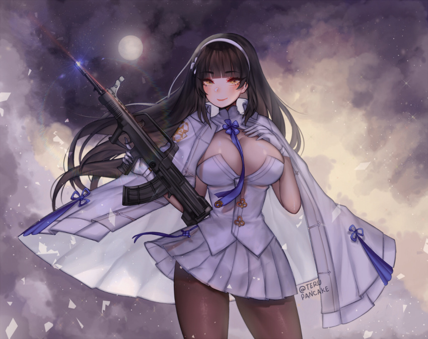 1girl ass_visible_through_thighs assault_rifle bangs between_breasts black_hair blue_neckwear blunt_bangs blush breasts brown_legwear bullpup cloak closed_mouth commentary contrapposto cowboy_shot english_commentary eyebrows_visible_through_hair floating_hair full_moon girls_frontline gloves gun hair_ornament hairband hand_on_own_chest holding holding_gun holding_weapon jacket_on_shoulders large_breasts light_particles long_hair looking_at_viewer moon necktie necktie_between_breasts pantyhose pleated_skirt qbz-95 qbz-95_(girls_frontline) rifle skirt sky smile solo sparkle star_(sky) starry_sky teru_(renkyu) trigger_discipline twitter_username very_long_hair vest weapon white_cloak white_gloves white_skirt white_vest wind yellow_eyes