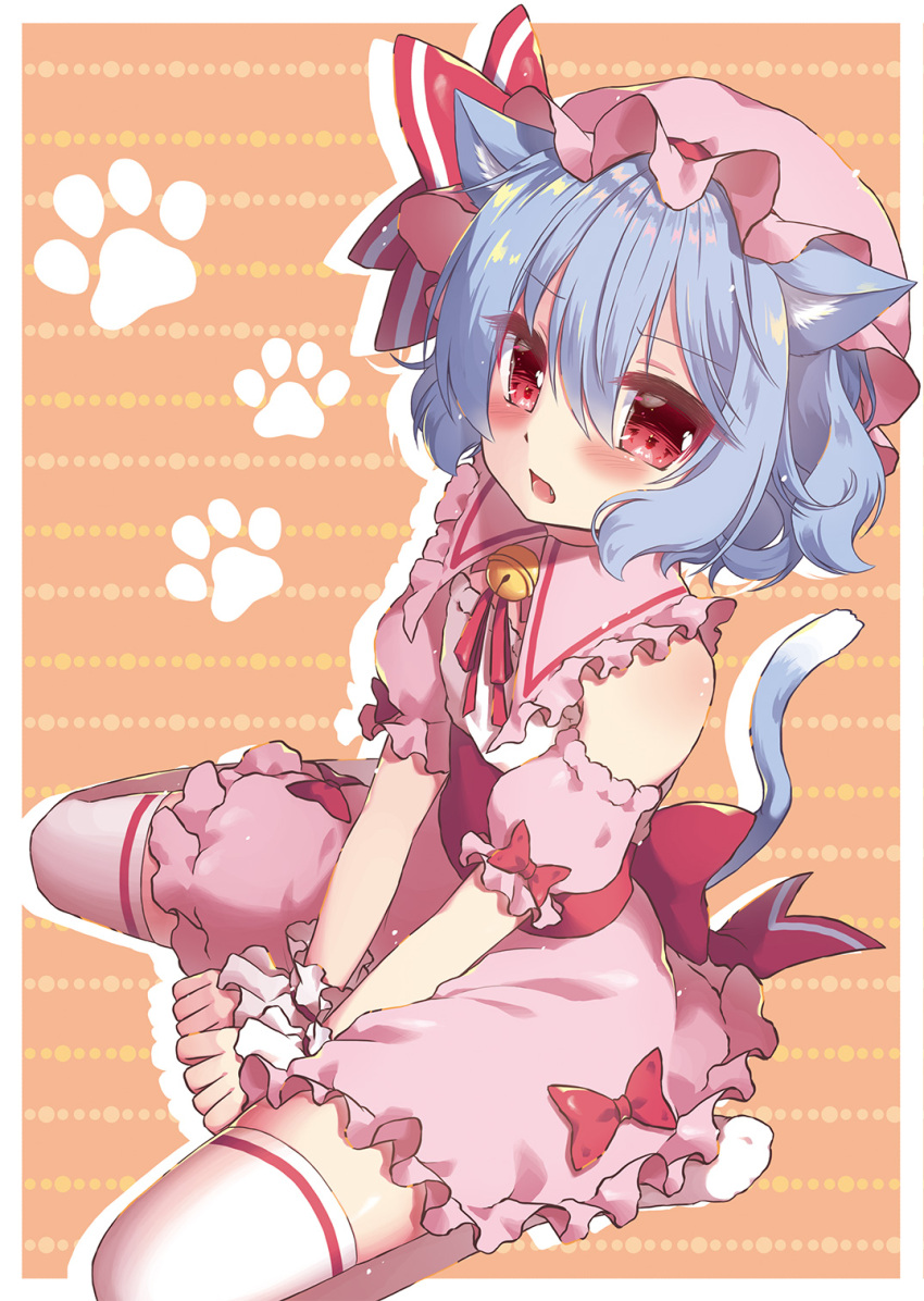 1girl animal_ear_fluff animal_ears bangs bare_shoulders bell beni_kurage blush bow cat_ears cat_tail commentary_request detached_sleeves dress eyebrows_visible_through_hair fang frilled_shirt_collar frills hair_between_eyes hat hat_ribbon highres jingle_bell kemonomimi_mode looking_at_viewer mob_cap neck_ribbon no_shoes open_mouth orange_background paw_print pink_dress pink_hat puffy_short_sleeves puffy_sleeves red_bow red_neckwear red_ribbon remilia_scarlet ribbon short_hair short_sleeves silhouette sitting solo tail thigh-highs thighs touhou v_arms wariza white_legwear wrist_cuffs zettai_ryouiki
