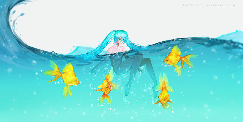 1girl aqua_eyes aqua_hair bottle_miku breasts commentary convenient_censoring english_commentary fish goldfish hatsune_miku highres liquid_hair long_hair making_of nude partially_submerged small_breasts solo swimming the_cecile toes twintails very_long_hair vocaloid water
