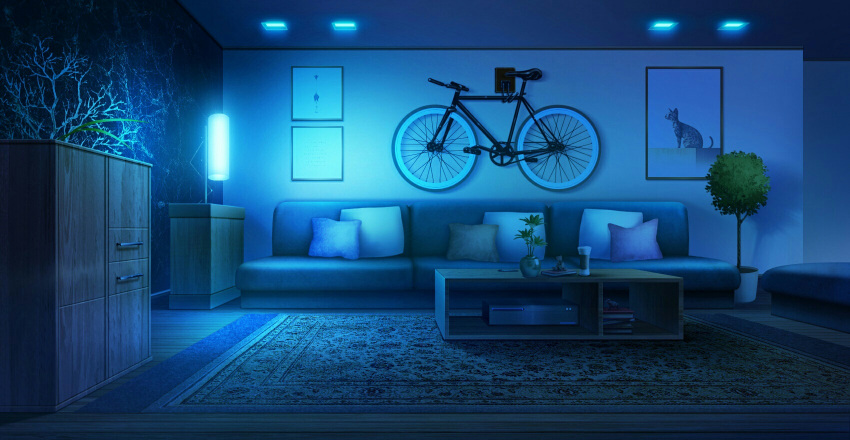bicycle blue book book_stack cabinet couch cup cushion ground_vehicle highres indoors lamp night no_humans original painting_(object) plant potted_plant rkmlady rug table