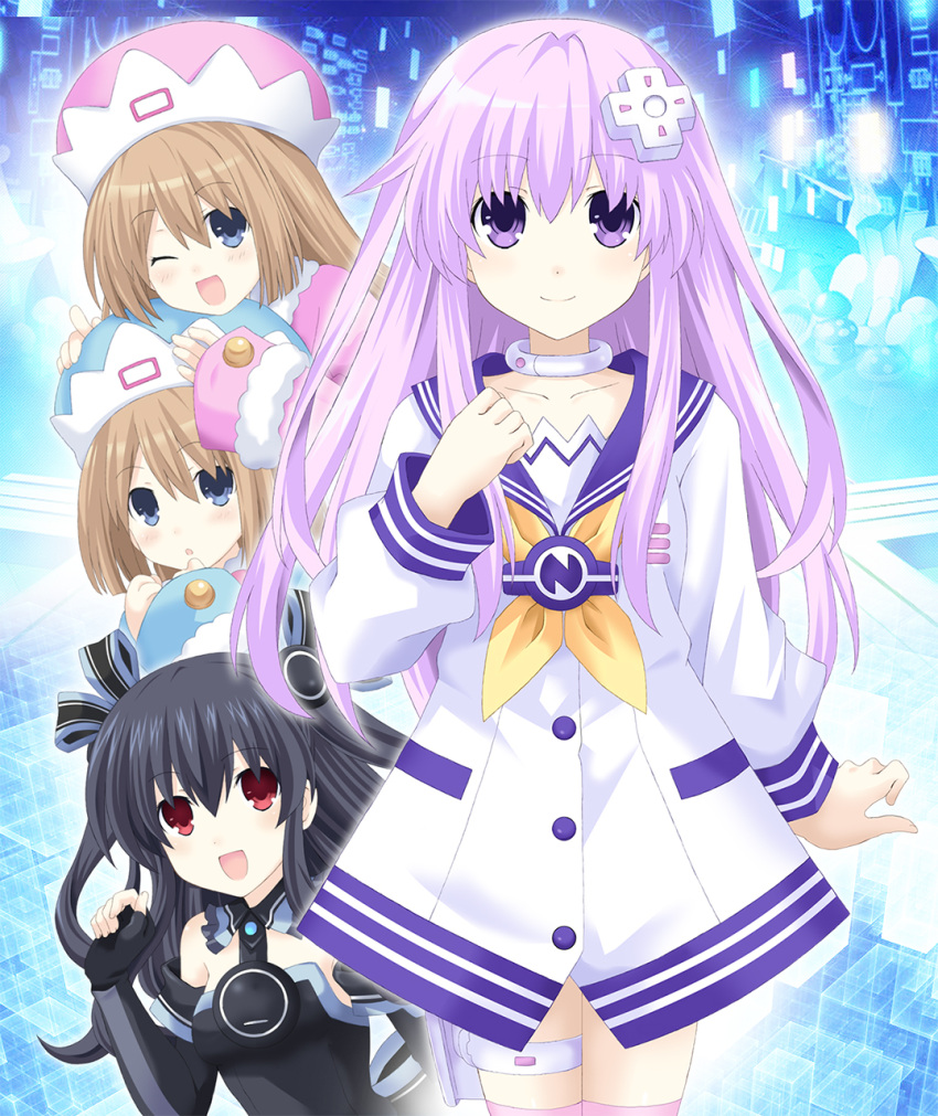 4girls black_hair blue_eyes blush bow brown_hair choker choujigen_game_neptune_mk2 elbow_gloves eyebrows_visible_through_hair gloves hat highres kagura_ittou long_hair looking_at_viewer multiple_girls nepgear neptune_(series) one_eye_closed open_mouth purple_hair ram_(choujigen_game_neptune) red_eyes ribbon rom_(choujigen_game_neptune) siblings smile thigh_strap twins uni_(choujigen_game_neptune) violet_eyes
