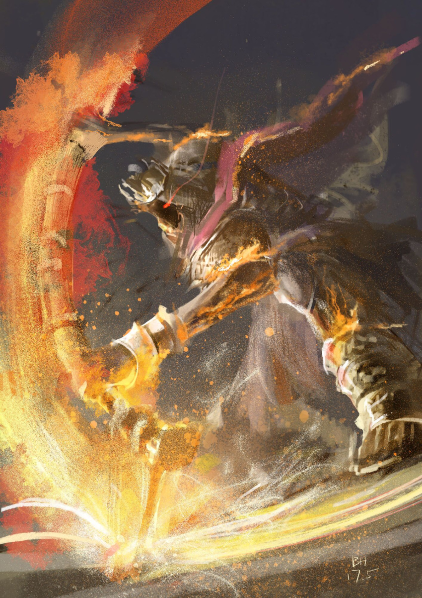 armor attack bhpapaya blade boots bracelet cape chainmail coif crown dark_souls dark_souls_iii faceless fighting_stance fire giant glowing glowing_eyes grey_background highres holding holding_weapon jewelry red_eyes simple_background souls_(from_software) sparks weapon yhorm_the_giant