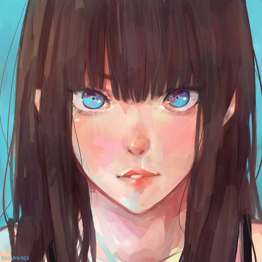 1girl 2girls artist_name bangs blue_background blue_eyes brown_hair character_request commentary dochanhee english_commentary highres ilya_kuvshinov_(style) looking_at_phone multiple_girls original phone portrait simple_background solo