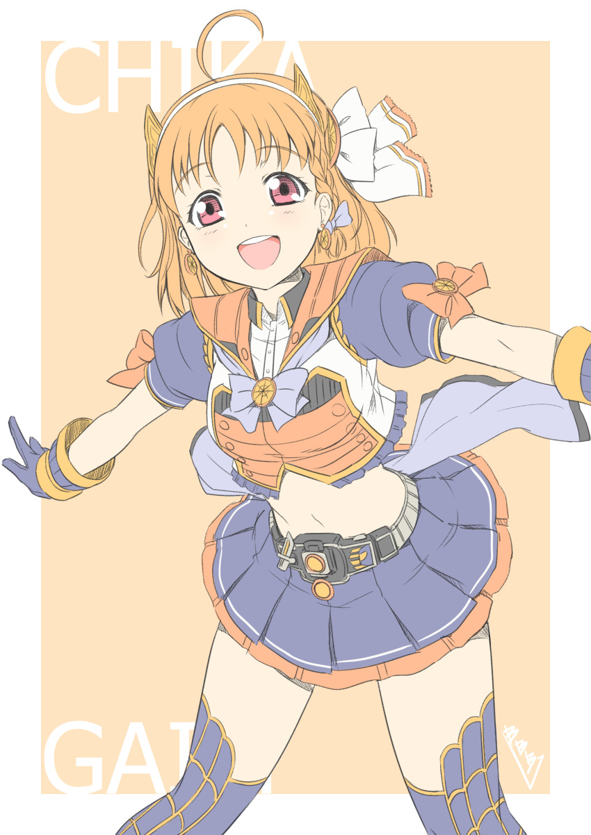 1girl absurdres ahoge bangs belt braid bunji character_name commentary_request earrings english food_themed_earrings gloves hair_ornament hair_ribbon hairband highres jewelry kamen_rider kamen_rider_gaim kamen_rider_gaim_(series) looking_at_viewer love_live! love_live!_sunshine!! midriff miniskirt orange_earrings orange_hair red_eyes ribbon rider-tan rider_belt short_hair short_sleeves side_braid signature skirt solo takami_chika thigh-highs zettai_ryouiki