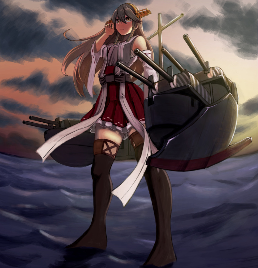 1girl adjusting_hair bare_shoulders boots bow brown_eyes brown_hair detached_sleeves hair_bow haruna_(kantai_collection) highres kantai_collection kazunoko long_hair nontraditional_miko ocean red_skirt rigging sarashi skirt solo thigh-highs thigh_boots thighs turret water waves wide_sleeves zettai_ryouiki
