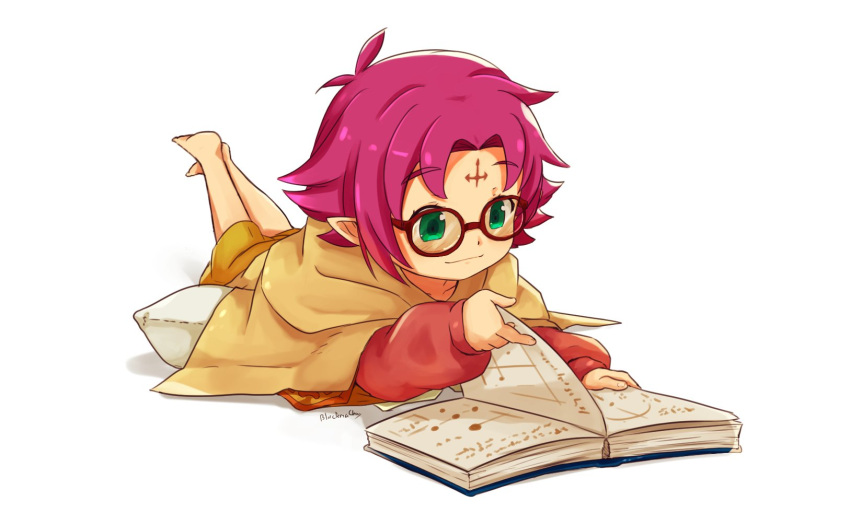 1girl artist_name blackma_(pagus0012) book closed_mouth fa facial_mark fire_emblem fire_emblem:_fuuin_no_tsurugi fire_emblem_heroes forehead_mark glasses green_eyes highres long_sleeves lying mamkute nintendo on_stomach open_book pointy_ears purple_hair short_hair simple_background solo white_background
