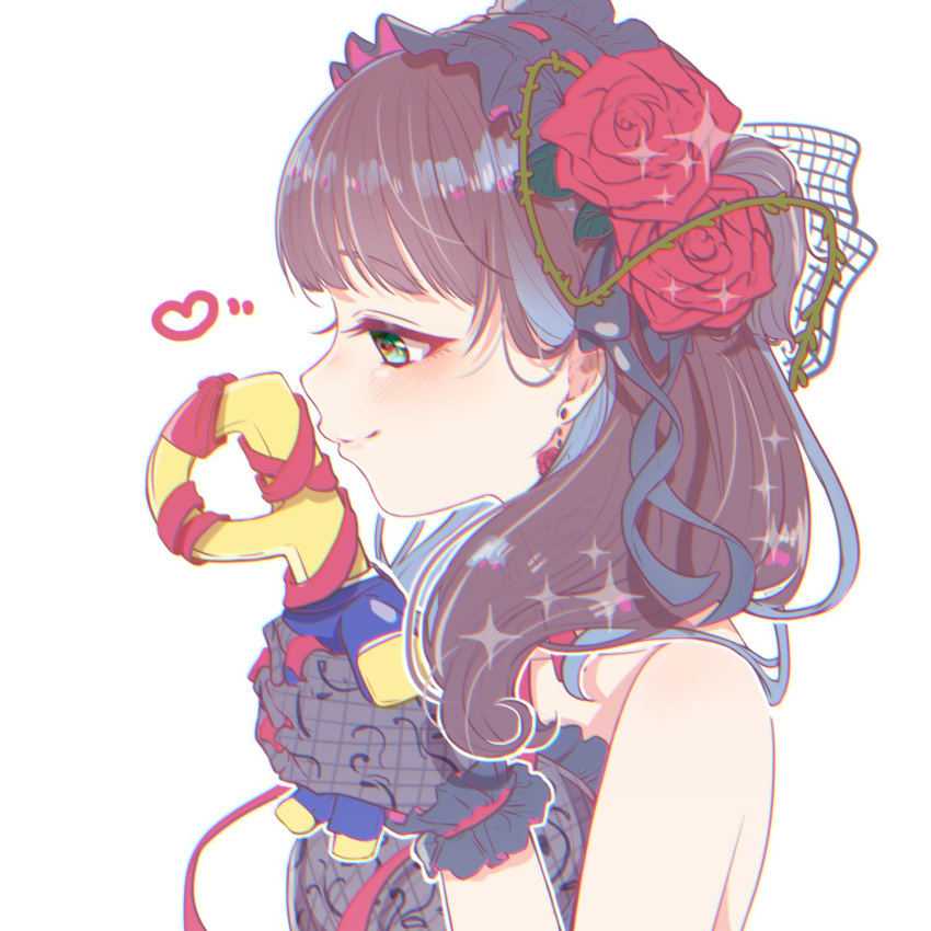 1girl aozora_saishiki bare_shoulders blue_eyes blush brown_hair character_doll commentary_request doll earrings eyebrows_visible_through_hair fishnet_gloves fishnets flower formal frilled_hairband frills gloves hair_flower hair_ornament hair_ribbon hairband heart highres holding holding_doll idolmaster idolmaster_cinderella_girls jewelry long_hair p-head_producer plant producer_(idolmaster) profile red_ribbon ribbon rose rose_earrings sakuma_mayu simple_background smile suit upper_body vines white_background