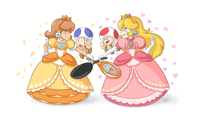 2boys 2girls :o blue_eyes blush_stickers brown_footwear brown_hair clenched_hand crown dress earrings elbow_gloves eye_contact flower_earrings frying_pan game_&_watch_gallery gem gloves hand_on_hip hand_up heart highres jewelry looking_at_another mario_(series) mario_tennis midair multiple_boys multiple_girls nintendo orange_dress petals pink_dress princess_daisy princess_peach profile puffy_short_sleeves puffy_sleeves racket short_sleeves signature smile standing super_mario_bros. super_mario_land super_smash_bros. super_smash_bros_melee super_smash_bros_ultimate tennis_racket toad white_background white_gloves zieghost