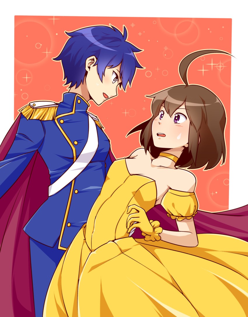 2girls ahoge androgynous arm_around_waist bare_shoulders blazblue:_cross_tag_battle blue_eyes blue_hair blush breasts brown_hair cape choker commentary crossdressing crossover dancing detached_sleeves dress english_commentary epaulettes eye_contact gloves grey_eyes highres huge_ahoge linne long_dress looking_at_another lyn_(shunao) military military_uniform multiple_girls puffy_short_sleeves puffy_sleeves reverse_trap sash shirogane_naoto short_hair short_sleeves small_breasts sparkle_background strapless strapless_dress sweatdrop torso_grab under_night_in-birth uniform violet_eyes yellow_choker yellow_dress yellow_gloves yuri