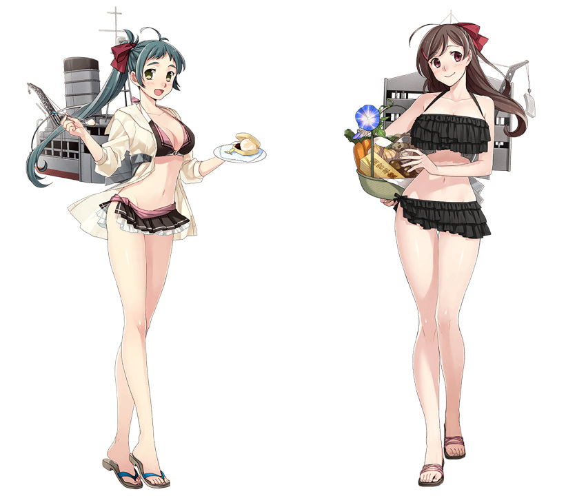 2girls :> ahoge bangs bare_shoulders basket bikini bikini_skirt black_bikini blue_flower blush bow breasts brown_hair carrot cleavage closed_mouth collarbone crane eyebrows_visible_through_hair feet flower food frilled_bikini frills fujikawa full_body green_eyes green_hair groin hair_bow hair_ornament hair_ribbon hairclip halterneck head_tilt highres hips holding holding_basket ice_cream irako_(kantai_collection) jacket kantai_collection large_breasts long_hair long_legs looking_at_viewer macaron machinery mamiya_(kantai_collection) medium_breasts morning_glory multiple_girls navel official_art onion open_mouth parted_bangs ponytail potato red_bow red_ribbon ribbon rigging sandals slender_waist smile smokestack spoon standing swept_bangs swimsuit thigh_gap toenails tofu transparent_background violet_eyes white_jacket