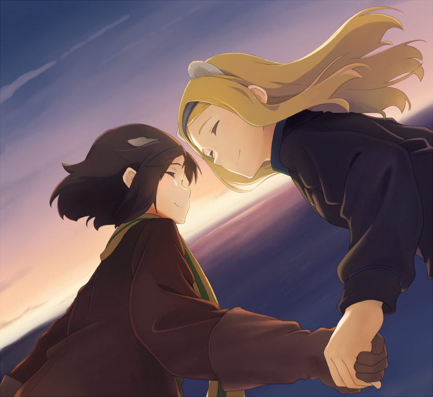 2girls aleksandra_i_pokryshkin animal_ears birthday black_hair blonde_hair brave_witches closed_eyes commentary dog_ears dutch_angle flying gloves hairband hand_holding happy jacket kanno_naoe leather leather_jacket long_hair multiple_girls ocean scarf shiratama_(hockey) short_hair sky smile sunset world_witches_series