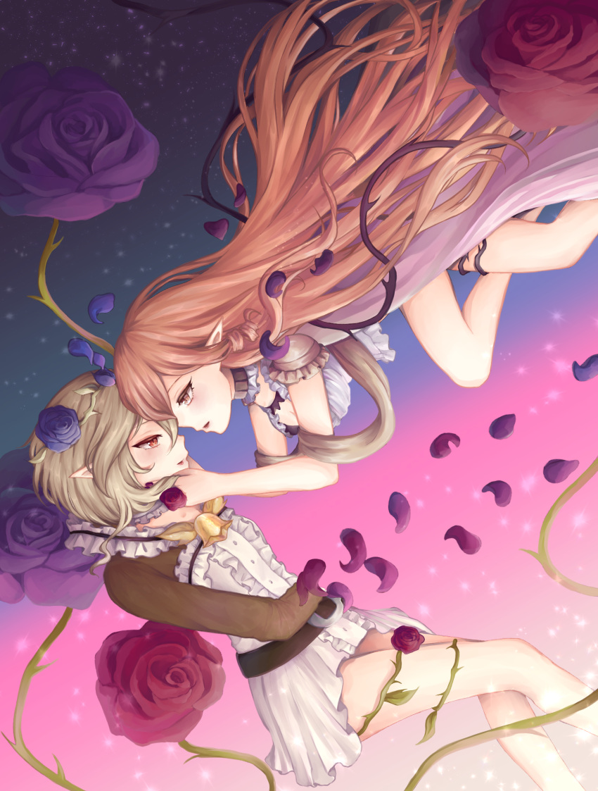 2girls arm bare_arms bare_legs blush breasts brown_eyes brown_hair center_frills commentary couple cranberry_(mahoiku) dress english_commentary eye_contact female floating_hair flower flying from_side grey_hair hands_on_another's_cheeks hands_on_another's_face highres imminent_kiss legs long_hair long_sleeves looking_at_another mahou_shoujo_ikusei_keikaku mahou_shoujo_ikusei_keikaku_restart medium_breasts melville multiple_girls nail_polish open_mouth petals pointy_ears profile purple_flower purple_nails purple_rose quinuu red_eyes red_flower red_rose rose short_hair small_breasts smile thorns very_long_hair yuri