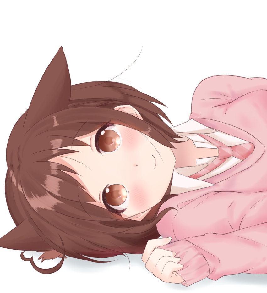 1girl animal_ears bang_dream! bangs blush bob_cut brown_hair cat_ears clenched_hand commentary_request hazawa_tsugumi highres kemonomimi_mode long_sleeves looking_at_viewer lying necktie on_side pink_neckwear pink_sweater short_hair sleeves_past_wrists smile solo sweater tsugumochi white_background