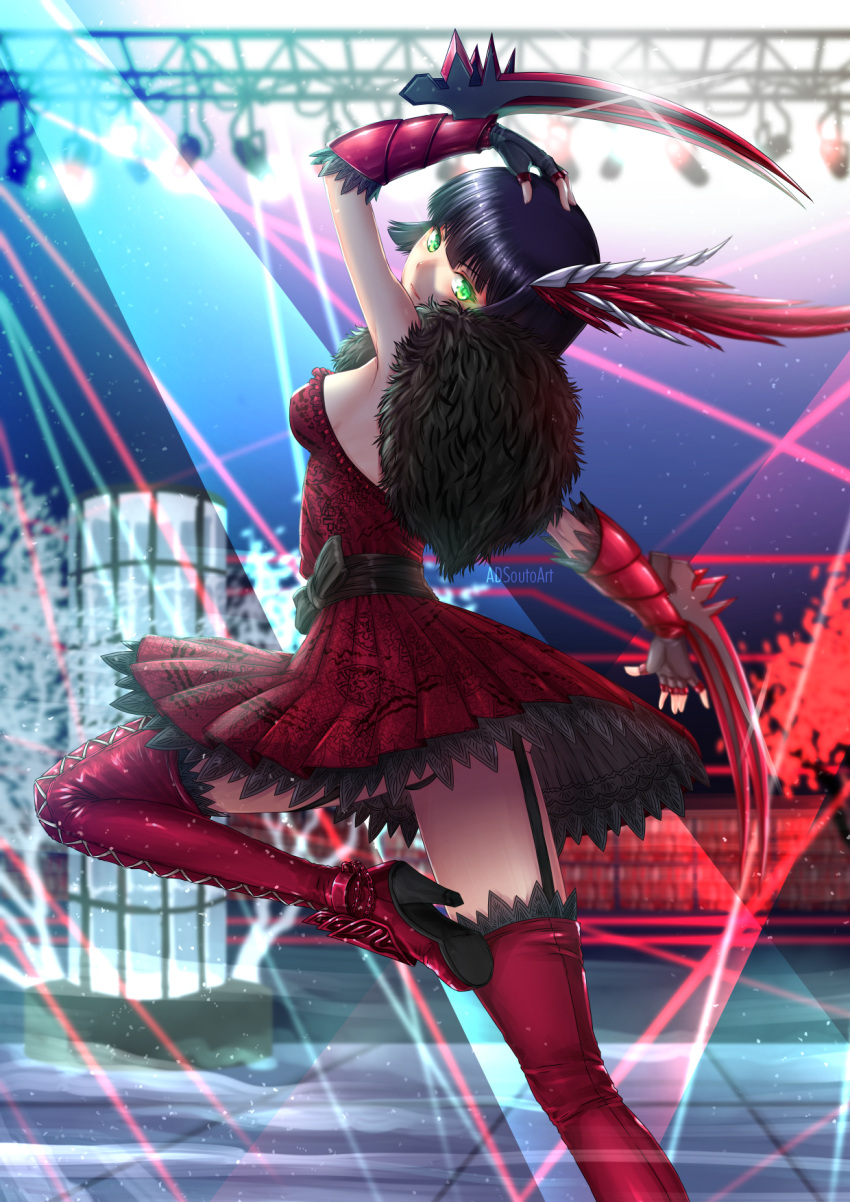 1girl adsouto arm_up artist_name blurry blurry_background boots breasts claw_(weapon) commentary dress english_commentary feather_boa fingerless_gloves from_behind garter_straps gloves high_heel_boots high_heels highres looking_at_viewer looking_back medium_breasts miltiades_malachite nightclub red_dress rwby solo standing standing_on_one_leg strapless strapless_dress thigh-highs thigh_boots weapon