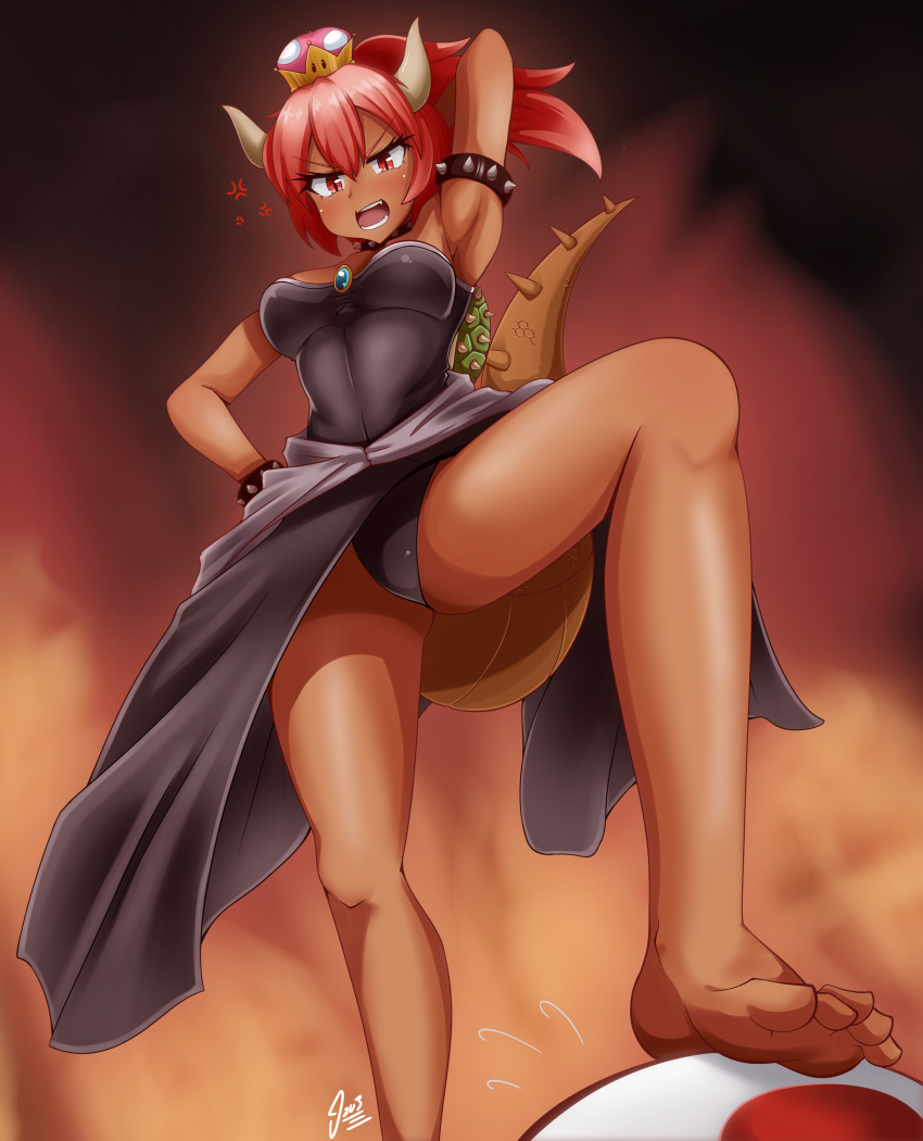 >:o 1boy 1girl absurdres anger_vein arm_up armpits barefoot black_leotard bowser bowsette bracelet crown feet from_below genderswap genderswap_(mtf) high_ponytail highres horns izuthree jewelry knee_up leotard looking_at_viewer mario_(series) nintendo panties pantyshot pantyshot_(standing) red_eyes redhead shell signature simple_background spiked_armlet spiked_bracelet spikes standing stepped_on super_crown super_mario_bros. tail toad toes underwear