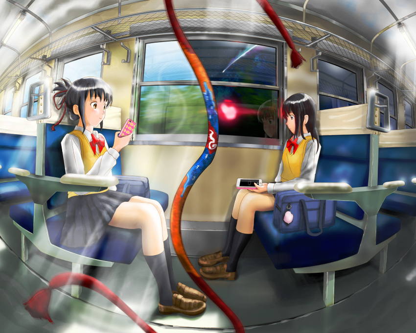 2girls absurdres bag black_hair black_legwear blue_ribbon brown_eyes brown_footwear comet day dual_persona hair_down hair_ribbon highres holding holding_phone kimi_no_na_wa kneehighs long_sleeves miyamizu_mitsuha multicolored multicolored_ribbon multiple_girls night orange_ribbon phone piiiteko red_ribbon ribbon school_bag seat sky smile star_(sky) starry_sky train_interior vest