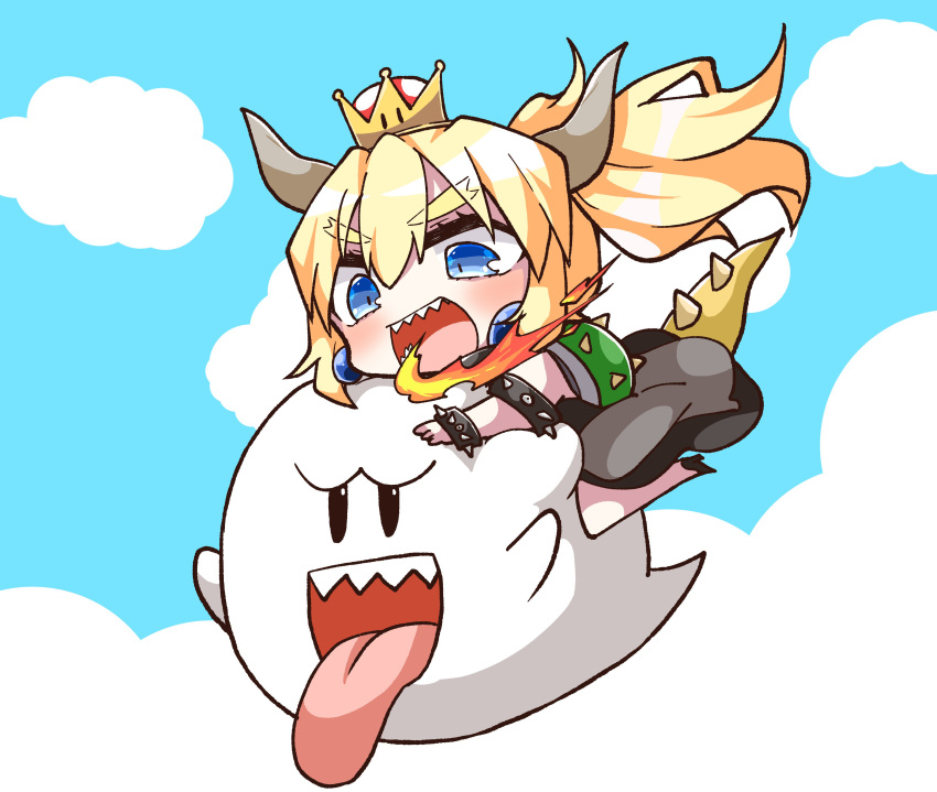 1girl :d absurdres bangs black_dress black_footwear blonde_hair blue_eyes blue_sky boo bowser bowsette bracelet chibi clouds commentary_request crown day dress eyebrows_visible_through_hair fire flying genderswap genderswap_(mtf) hair_between_eyes high_heels highres horns jako_(jakoo21) jewelry long_hair mario_(series) mini_crown new_super_mario_bros._u_deluxe nintendo open_mouth outdoors ponytail sharp_teeth sky smile spiked_bracelet spiked_shell spiked_tail spikes super_crown tail teeth tongue tongue_out turtle_shell v-shaped_eyebrows