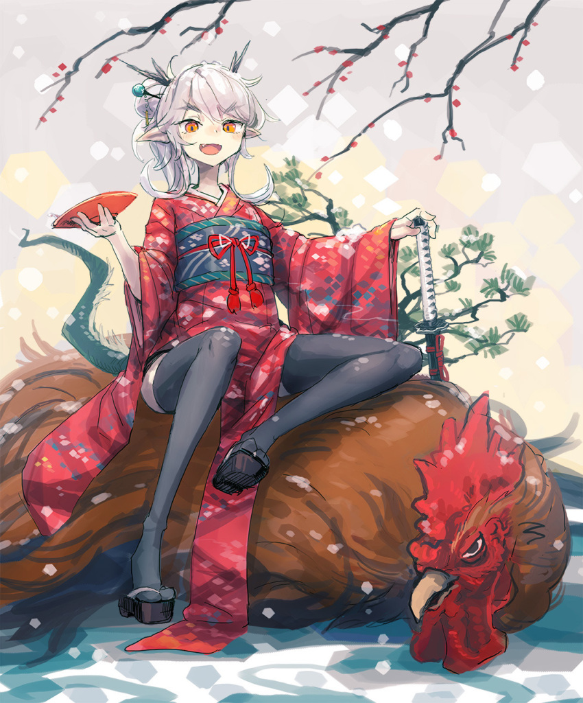 1girl :d bee_(deadflow) bird black_legwear chicken concon-collector cup dragon_girl dragon_horns dragon_tail fang highres horns japanese_clothes katana kimono kuryuu_kohaku long_hair obi obiage obijime open_mouth pale_skin pointy_ears sageo sakazuki same-hada sandals sash saya_(scabbard) smile solo sword tail thigh-highs tsuba_(guard) tsuka-ito tsuka_(handle) weapon yellow_eyes