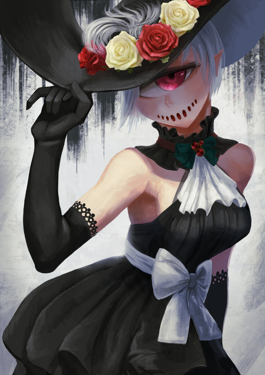 1girl absurdres ascot bare_shoulders black_dress black_gloves breasts commentary_request cyclops dress elbow_gloves flower gino gloves hand_up hat highres looking_at_viewer medium_breasts one-eyed original pointy_ears red_eyes red_flower red_rose rose smile solo white_hair white_neckwear yellow_flower yellow_rose