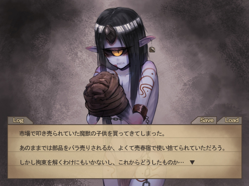 1girl armlet black_hair black_sclera blue_skin blush broken_horn chains claws clenched_teeth cowboy_shot earrings fake_screenshot full-face_blush gino horn jewelry long_hair looking_at_viewer monster_girl nude one-eyed original pelvic_curtain pointy_ears slit_pupils solo standing teeth translation_request very_long_hair visual_novel yellow_eyes